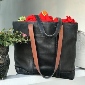 Coach Classic Vintage Black Leather Tote